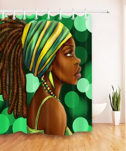 Afro Hairstyle Girl African American Woman Bathroom Shower Curtain 12 Hooks Set African American Shower Curtains