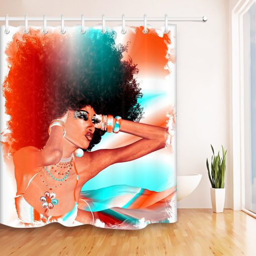 Afro Girl African American Shower Curtain Make-up Woman African American Shower Curtains