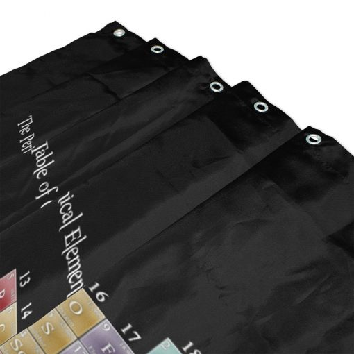 Dark Background Periodic Table of Elements Shower Curtain and Mat Set Chemistry Educational Periodic Table Shower Curtains