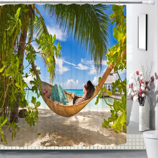 {6 diff} Seaside Sandy Beach Scenery Pattern 3D Shower Curtains 3D Shower Curtains {Discount Offers}