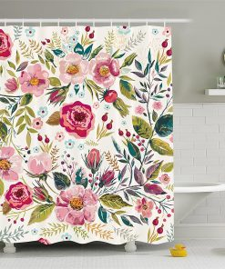 Shabby Chic Shower curtain with Flowers Roses Pedals Dots Leaves Buds Spring Season Theme Shabby Chic Shower Curtains
