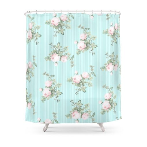 Shabby Chic Roses Pink And Mint Shower Curtain Shabby Chic Shower Curtains