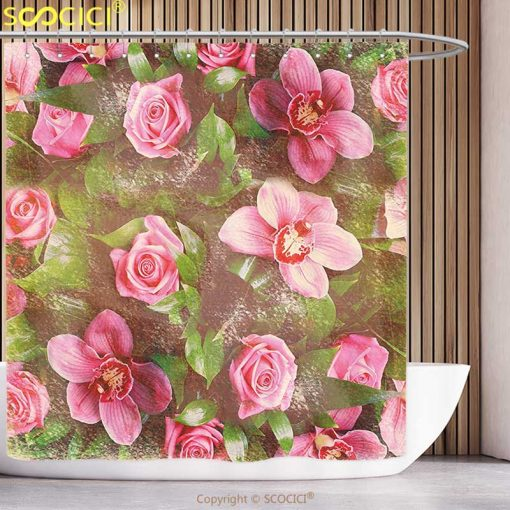 {25 Diff} Shabby Chic Decor Romantic Retro Floral Composition Fun Shower Curtain Shabby Chic Shower Curtains