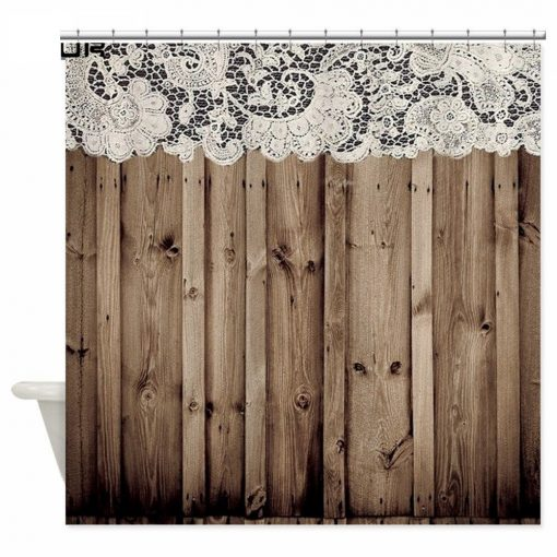 Shabby Chic Lace Barn Wood Shower Curtain Shabby Chic Shower Curtains