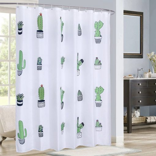 Cactus Pattern Solid Shower Curtain Waterproof High Quality Fabric Bath Curtain Thick Eco-Friendly Summer Soft Bathroom Curtain Shower Curtains