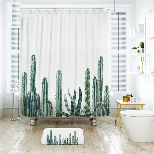 [2-colors] Tropical Cactus Waterproof Shower Curtain Cactus Shower Curtains