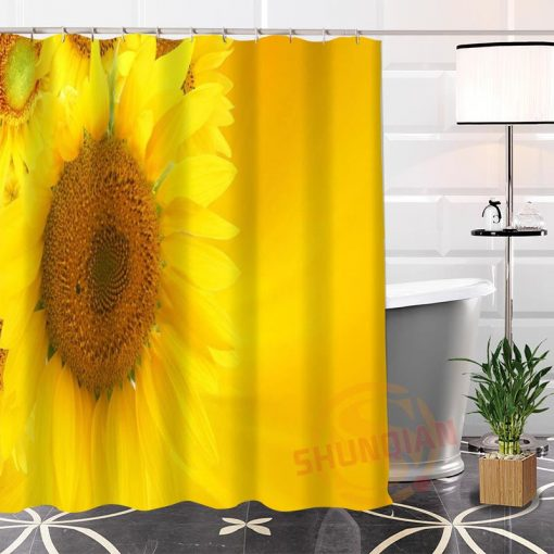 {19 Colors}Custom 3D Sunflower's Unique Fabric Print Waterproof  Bath Curtain For Bathroom With Hooks Sunflower Shower Curtains