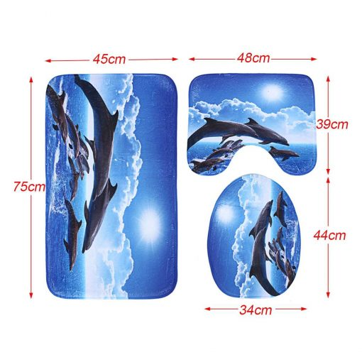 Jumping Dolphins Shower Curtains Bathroom Rug Set Shower Curtains