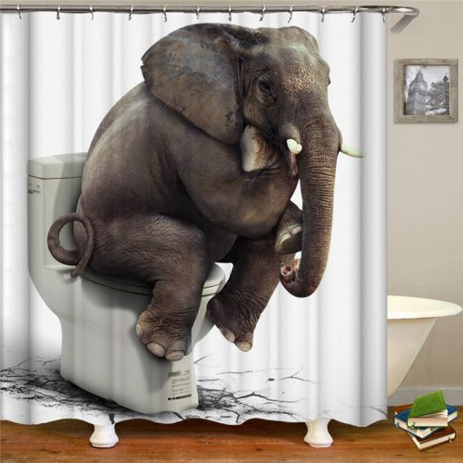 3D Funny Elephant Print Shower Curtains Shower Curtains