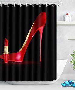 Luxury Red Color High Heels Printed Shower Curtains Shower Curtains