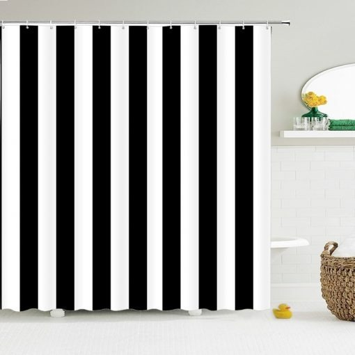 Premium Black And White Striped Shower Curtain for Rich Look Shower Curtains