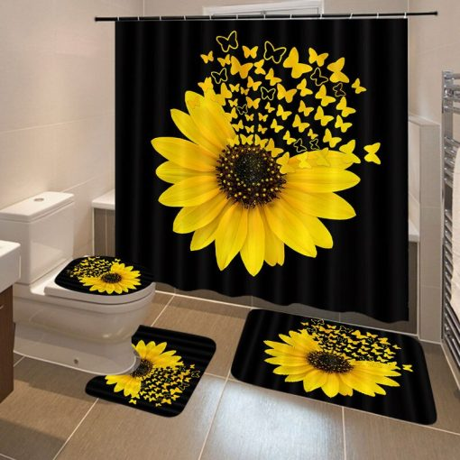 Stylish 4PCS/Set Sunflower Butterfly Print Shower Curtain and Bathroom Set Shower Curtains