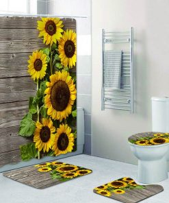 (16-Diff) Stylish Black & White Striped Sunflower Shower Curtain and Rug Bathroom mat Toilet Cover Set Shower Curtains