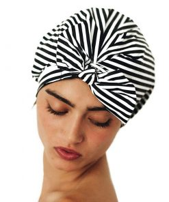 Luxury Reusable Shower Cap for Women – Waterproof and Mold Resistant (Black and White Stripe) Funny Shower Curtains