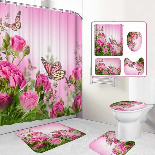 Butterfly Pink Rose Shower Curtain Bathroom Set Toilet Seat Cover Rugs Butterfly Shower Curtains