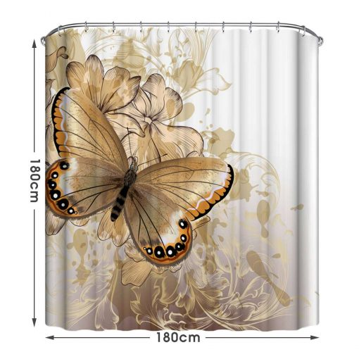 Waterproof Butterfly Bath Shower Curtain and Carpet Rugs Butterfly Shower Curtains