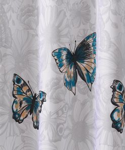 Simple Waterproof Butterfly Shower Curtain Light Background and Colorful Butterflies Design Butterfly Shower Curtains