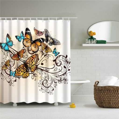 Dandelion Butterfly Shower Curtain Polyester Waterproof Mildew Proof Butterfly Shower Curtains