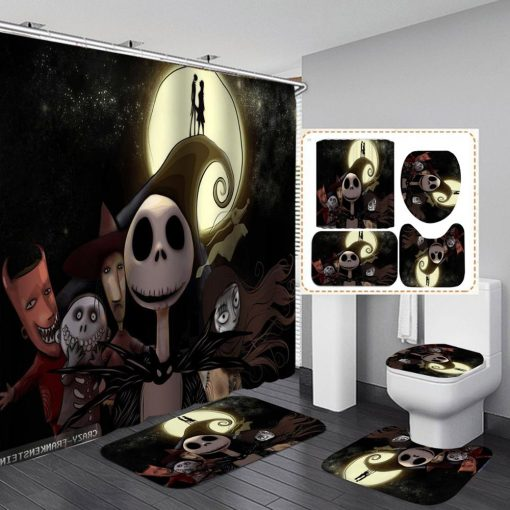 21+ Diff Scary Halloween Print Shower Curtain & 4Pcs Carpet Cover Toilet Cover Bath Mat Pad Set Bathroom Curtain with 12 Hooks (Copy) Happy Halloween Shower Curtains