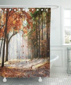 Brown Fall Falling Oak Leaves on The Scenic Autumn Forest Illuminated by Morning Sun Red Tree Landscape Shower Curtains Shower Curtains
