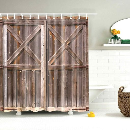 Farmhouse Primitive Shower Curtains Country Home Rustic Barn Star Texas Star Wooden Door Farmhouse Classic Bath Curtains Shower Curtains