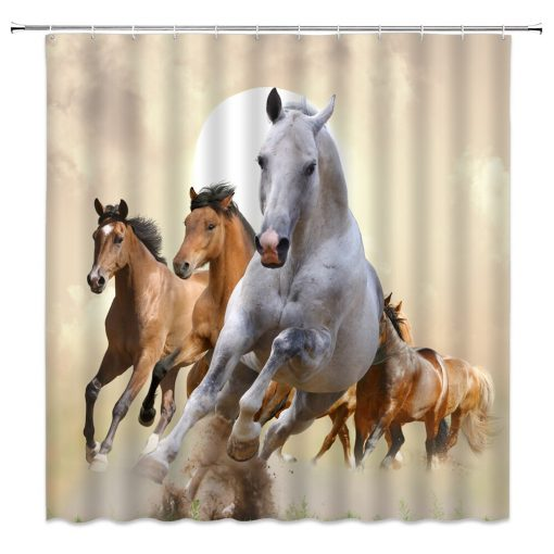 Energetic Horse Shower Curtains for Bathroom Decor Horse Shower Curtains
