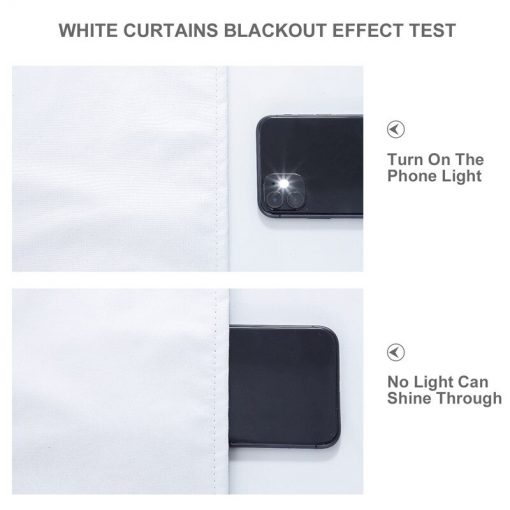 White Solid 100% Blackout Curtains For Bedroom Living Room Window Treatment Modern Blackout Blinds Finished Drapes Blackout Curtains
