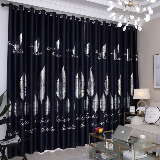 Luxury Gold Shiny Silver Leaf Blackout Curtain for Bedroom  Home Décor {Black, Brown, Blue, Pink, Green} Blackout Curtains