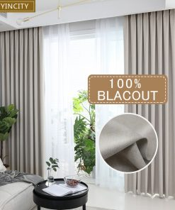 Solid 100% blackout Curtain For Living room Home Decor thick Faux linen Curtains for Bedroom ready made custom made Blackout Curtains