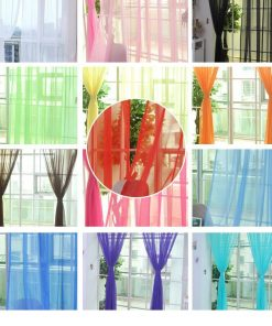 Solid  Colorful Tulle Sheer Curtains for the Kitchen Living Room Sheer Curtains Beaded Curtains