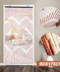 Ecofriendly Handmade Bamboo Beaded Curtain, Wooden Blinds Fly Screen Gate Divider Sheer For Hallway Living Room Door Window Beaded Curtains