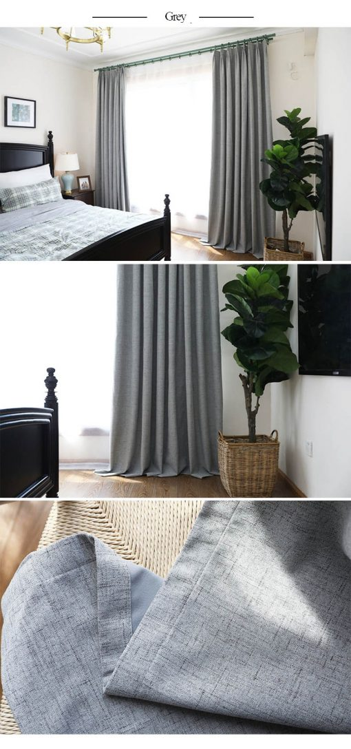 Premium Faux Linen High Density Thermal Insulated Soundproof Blackout Curtain (set of 2 Panels) Insulated Thermal Curtains