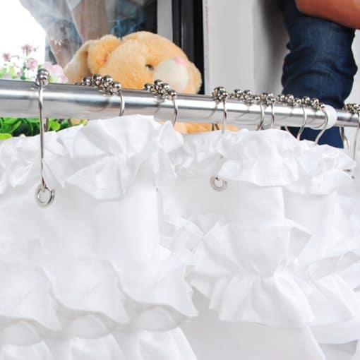 3 Size Hot Design Ruffles Shower Curtain Liner Water Repellent Mildew-Free Shower Curtain Liner